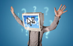 Person with a monitor head and cloud based technology on the scr Royalty Free Stock Photo