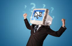 Person with a monitor head and cloud based technology on the scr Stock Photography