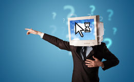 Person with a monitor head and cloud based technology on the scr Royalty Free Stock Images
