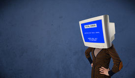 Person with a monitor head and fatal error blue screen on the di Stock Images