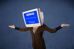 Person with a monitor head and fatal error blue screen on the di Stock Photography