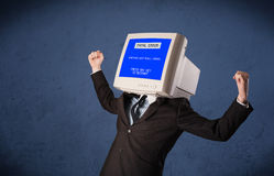 Person with a monitor head and fatal error blue screen on the di. Splay royalty free stock image