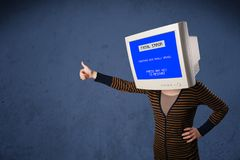 Person with a monitor head and fatal error blue screen on the di. Splay royalty free stock photography