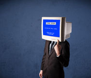 Person with a monitor head Royalty Free Stock Photo
