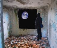 The person on the moon Royalty Free Stock Image