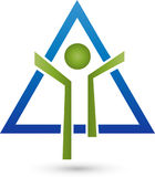 Person in motion and triangle, fitness and health logo Stock Photography