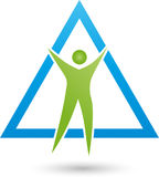 Person in motion and triangle, fitness and health logo Stock Photos