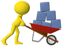 Person moving data cubes boxes wheelbarrow Royalty Free Stock Photos