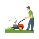 Person Mowing Grass. Lawn, grass, mowing icon vector image. Can also be used for people. Suitable for use on web apps, mobile apps and print media Stock Image