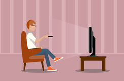 Person near the TV screen a illustration. On the image  is presented person near the TV screen a vector illustration Stock Photos