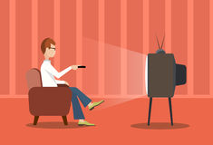 Person near the TV screen a vector illustration Royalty Free Stock Images