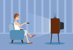 Person near the TV screen a vector illustration Royalty Free Stock Image