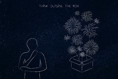 Person next to box with fireworks, think outside the box. Think outside the box conceptual illustration: person thinking and staring at a box with fireworks Royalty Free Stock Photography
