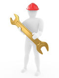 The person with nut Wrench Stock Photo