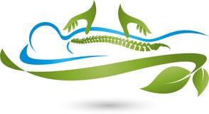 Person och två hand-, massage- och natur-logo Arkivfoto