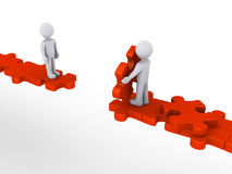 Person offering help to another on puzzle path. 3d person is offering help to another in order to walk on puzzle path Royalty Free Stock Photo