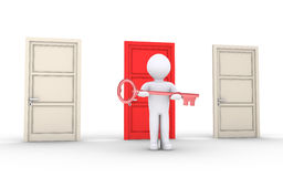 Person is offering a key to unlock special door. 3d person holding key is in front of doors and one is of different color Stock Photography