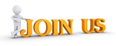 Person offering membership. 3d person is showing JOIN US letters Royalty Free Stock Photography