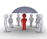 Person offering protection under umbrella. People are walking to find shelter under an umbrella Stock Image