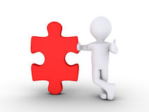 Person offering the solution. 3d person leaning on a red puzzle piece Royalty Free Stock Images