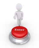 Person offers enter button. 3d person is showing the Enter button Stock Photo