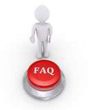 Person offers the FAQ button. 3d person is showing the FAQ button Stock Image
