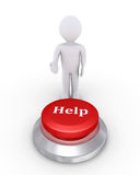 Person offers help button. 3d person is showing the Help button Stock Photography