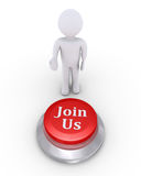 Person offers a Join Us button. 3d person is showing the Join Us button Royalty Free Stock Photo