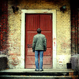 Person before the Old House Royalty Free Stock Photos
