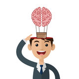 Person open head flying brain icon Stock Image