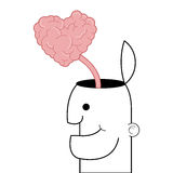 person with open head and heart shaped brain coming out icon Stock Photos