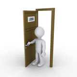 Person opening door to find job. 3d person is opening door that has a JOBS sign Royalty Free Stock Image