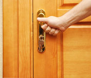 The person opens an door Royalty Free Stock Photos