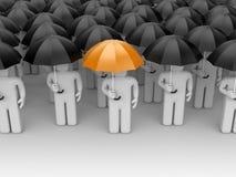 The person with orange umbrella Royalty Free Stock Photos