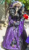 Person in ornate costume with Raven head and beak and American Indian styled feather headress and purple brocade dress at Oklahoma royalty free stock images