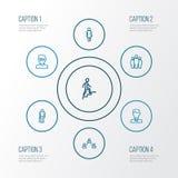 Person Outline Icons Set Colección de equipo, de hombre elegante, de anciano y de otros elementos También incluye símbolos tal co Foto de archivo libre de regalías