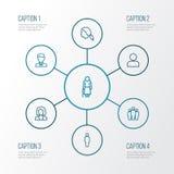 Person Outline Icons Set Colección de trabajador, de perfil, de cabeza y de otros elementos Imágenes de archivo libres de regalías