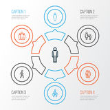 Person Outline Icons Set Collection d'éléments de l'homme, d'utilisateur, de pulser et autre Inclut également des symboles tel de Illustration Stock