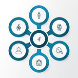 Person Outline Icons Set Collection d'éléments de profil, de fonctionnement, de traction et autre Inclut également des symboles t Image stock