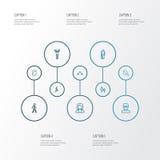 Person Outline Icons Set Collection d'affaires, de réjouissance, de tête et d'autres éléments Inclut également des symboles tel Photo libre de droits