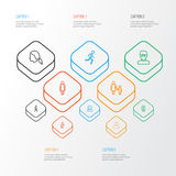 Person Outline Icons Set Collection de fonctionnement, de femme, de mère et d'autres éléments Inclut également des symboles tel l Photographie stock libre de droits