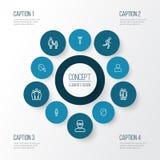 Person Outline Icons Set Collection de profil, d'équipe, de couples et d'autres éléments Inclut également des symboles tel le fon Image stock