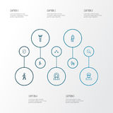 Person Outline Icons Set Raccolta dell'affare, dell'esultanza, della testa e di altri elementi Inoltre comprende i simboli come Fotografia Stock Libera da Diritti
