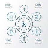 Person Outline Icons Set Raccolta dell'affare, maschio, Team And Other Elements Inoltre comprende i simboli quale l'essere umano Fotografia Stock