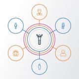 Person Outline Icons Set Raccolta dell'utente, vecchio, Team And Other Elements Inoltre comprende i simboli quale il cliente Immagine Stock