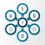 Person Outline Icons Set Raccolta di elementi di trazione ed altro di profilo, di funzionamento, Inoltre comprende i simboli qual Immagine Stock