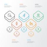 Person Outline Icons Set Raccolta di funzionamento, della donna, della madre e di altri elementi Inoltre comprende i simboli qual Fotografia Stock Libera da Diritti
