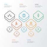 Person Outline Icons Set Raccolta di scalata, della femmina, dell'affare e di altri elementi Inoltre comprende i simboli come Immagini Stock