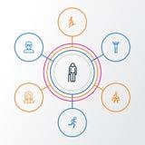 Person Outline Icons Set Raccolta di trazione, elementi di scalata, di esultanza e di altro Inoltre comprende i simboli come Fotografia Stock