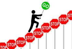 Person overcomes STOP signs raises GO sign Royalty Free Stock Images